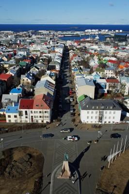 Blick von der Kathedrale Reykjaviks