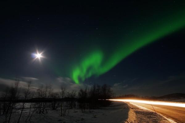 Fahrt unter dem Polarlicht