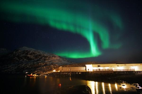 Fischerei unter Polarlicht