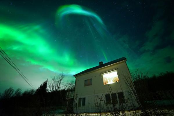 Haus im Scheinwerferlicht